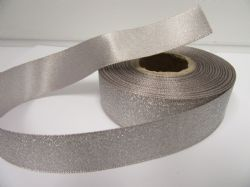 Silver 2 or 20 metres 25mm Glitter Christmas Satin Ribbon Xmas Roll Craft